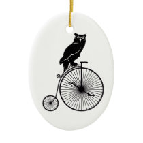 Owl Sitting on Vintage Bicycle Ceramic Ornament