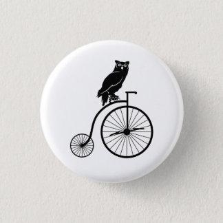 Owl Sitting on Vintage Bike Button