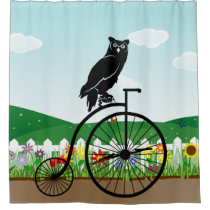 Owl Sitting on Vintage Bike Shower Curtain