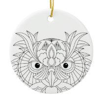Owl Sketch Ceramic Ornament