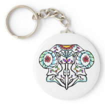 Owl Skull: Day of the Dead Keychain