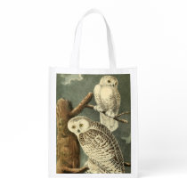 Owl Snowy Audubon Bird Art Illustration Birding Grocery Bag