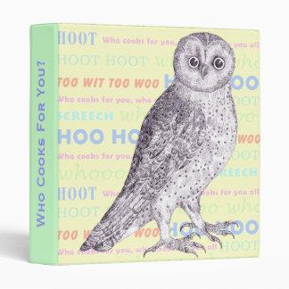 Owl Sounds Cookbook or Notebook Spiral Binder
