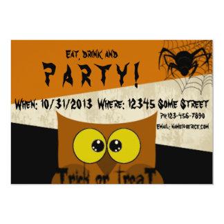 Owl Spider Web Orange Black Halloween Card