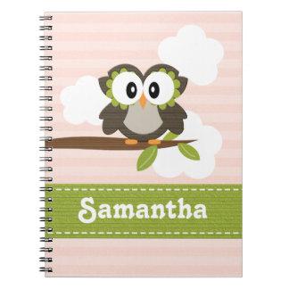 Owl Spiral Notebook Journal Blue