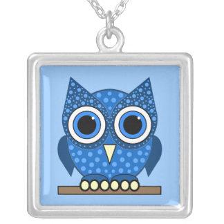owl square pendant necklace