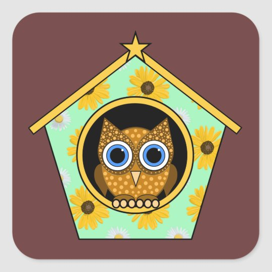 owl square sticker