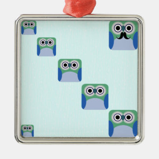 Owl Stack - Turquoise Blue Silver-Colored Square Decoration