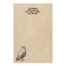 owl stamp stationery