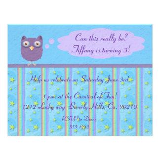 Owl Star Birthday Celebration Full Color Flyer