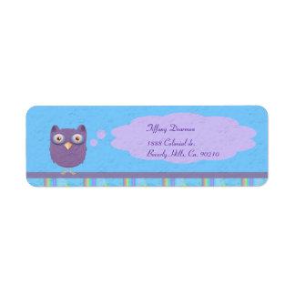Owl Star Birthday Celebration Return Address Label