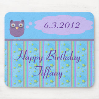 Owl Star Birthday Celebration Mouse Pad
