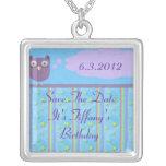 Owl Star Birthday Celebration Silver Plated Necklace