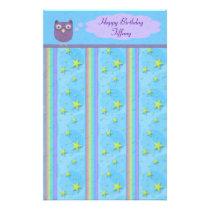 Owl Star Birthday Celebration Stationery