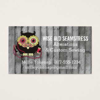 Owl steampunk monocle sewing notions seamstress business card