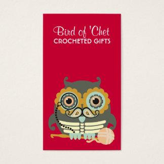 Owl steampunk skeleton mustache crochet hook business card