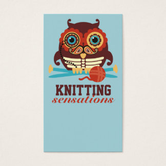 Owl steampunk skeleton mustache knitting needles business card