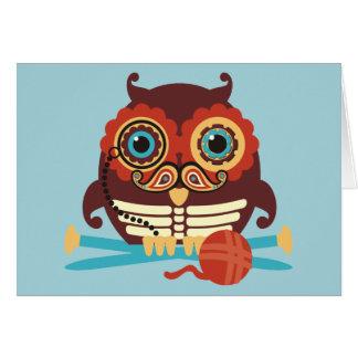 Owl steampunk skeleton mustache knitting needles card