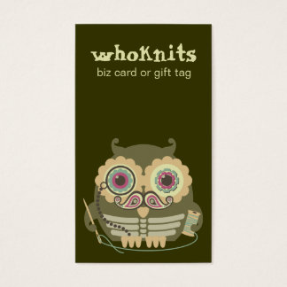 Owl steampunk skeleton mustache sewing needle business card