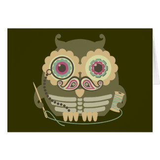 Owl steampunk skeleton mustache sewing needle card