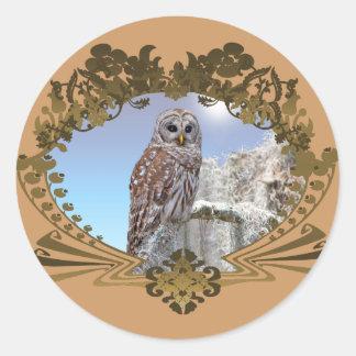 Owl Round Stickers
