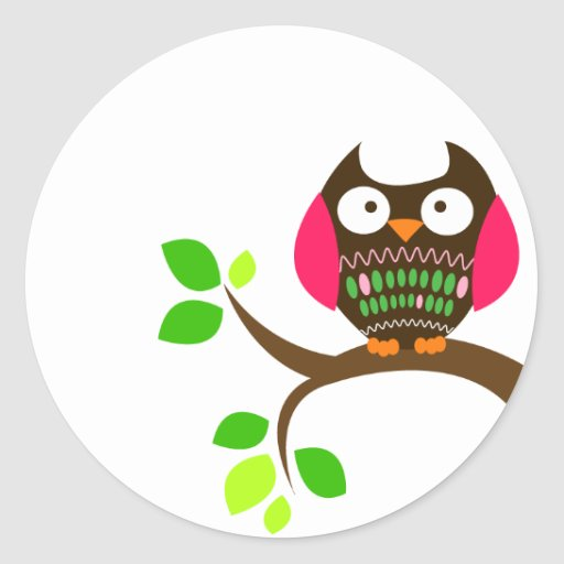 Owl Sticker (Pink and Green)