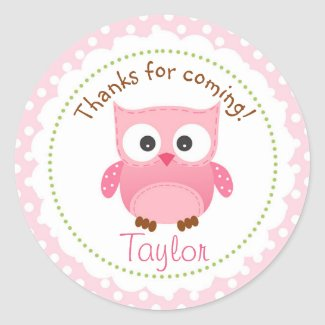 Owl Sticker Pink (Girl's 1st Birthday Party Favor)