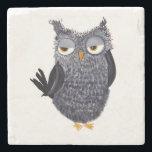 """Owl Stone Coaster<br><div class=""""desc"""">Pen and ink design</div>"""