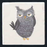 "Owl Stone Coaster<br><div class=""desc"">Pen and ink design</div>"