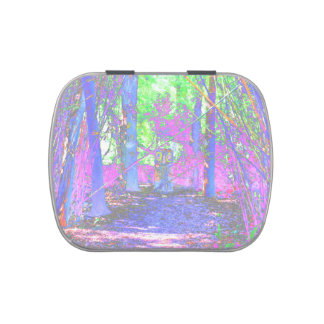 owl stump in woods abstract colorized jelly belly tin
