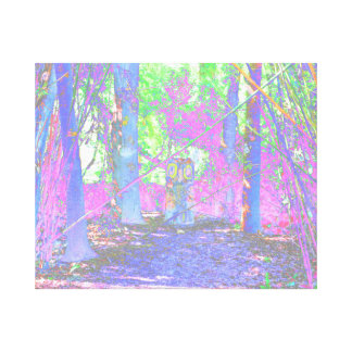 owl stump in woods abstract colorized canvas print