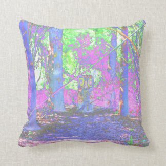 owl stump in woods abstract colorized throw pillow