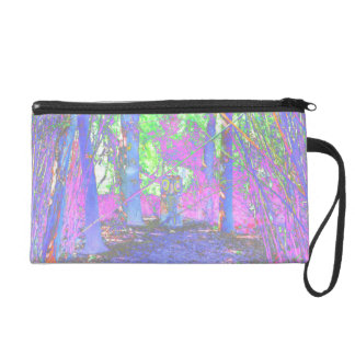 owl stump in woods abstract colorized wristlet purse