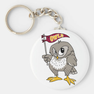 Owl Supporter Basic Round Button Keychain