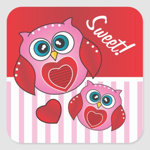 Owl Sweet Valentine Square Sticker