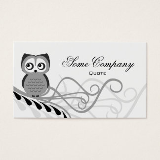 Owl Swirl (Black And White) Business Card