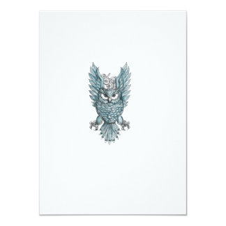 Owl Swooping Wings Clock Gears Tattoo Card