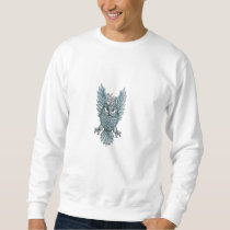 Owl Swooping Wings Clock Gears Tattoo Sweatshirt
