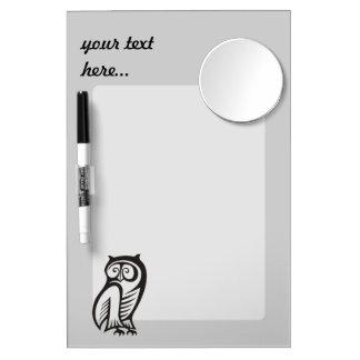 Owl Symbol Black Dry Erase Board With Mirror