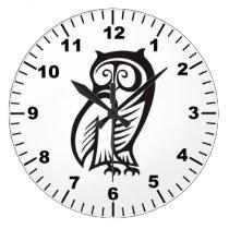 Owl Symbol Black Large Clock