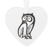 Owl Symbol Black Ornament