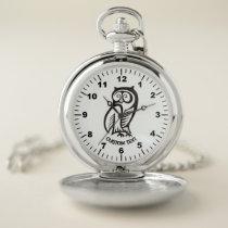 Owl Symbol Black Pocket Watch