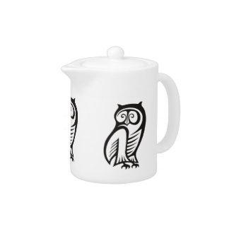 Owl Symbol Black Teapot