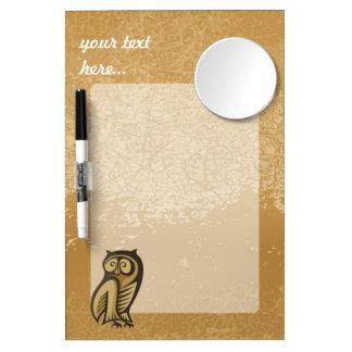 Owl Symbol Color Dry Erase Board With Mirror