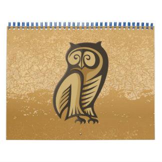 Owl Symbol Color Wall Calendar