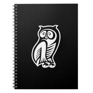Owl Symbol White Notebooks