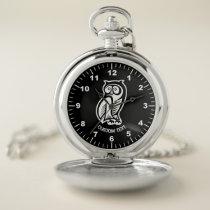 Owl Symbol White Pocket Watch