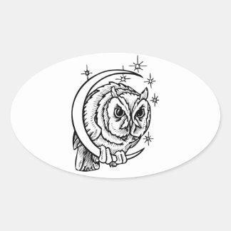 Owl Tattoo Oval Sticker