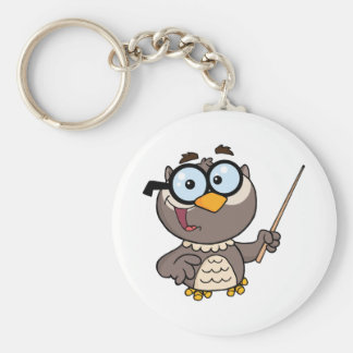Owl Teacher Cartoon Character With A Pointer Keychain