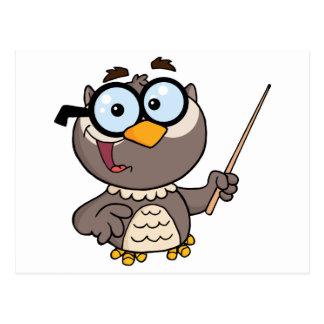 Owl Teacher Cartoon Character With A Pointer Postcard